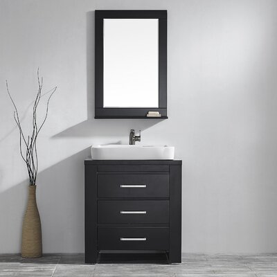 Pascara 30 Single Vanity Set with Mirror Base Finish: Espresso
