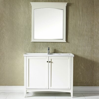 Aguilar 40 Single Vanity Set with Mirror Base Finish: White