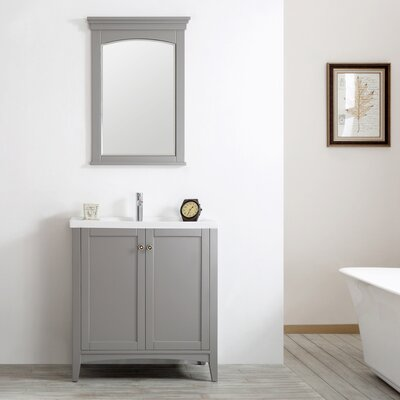 Asti 30 Single Vanity Set with Mirror Base Finish: Grey