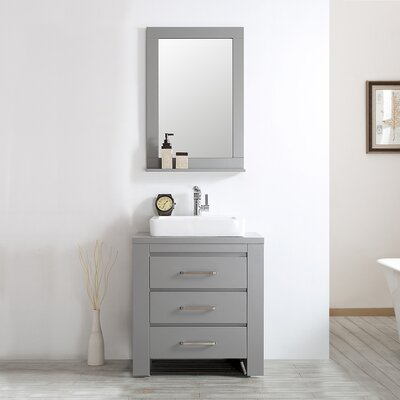 Kinchen 33.86 Single Bathroom Vanity Set with Mirror Base Finish: Grey