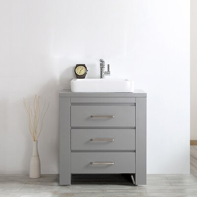Pascara 30 Single Vanity Set Base Finish: Grey