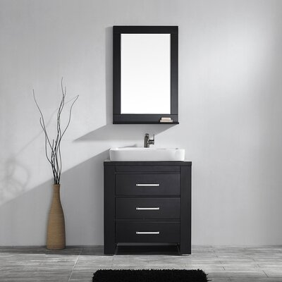 Kinchen 33.86 Single Bathroom Vanity Set with Mirror Base Finish: Espresso