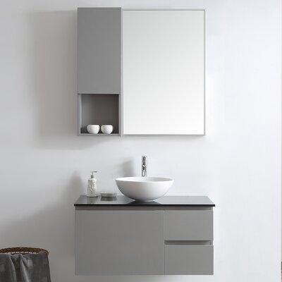 Ferrara 36 Single Vanity Set with Mirror Base Finish: Gray
