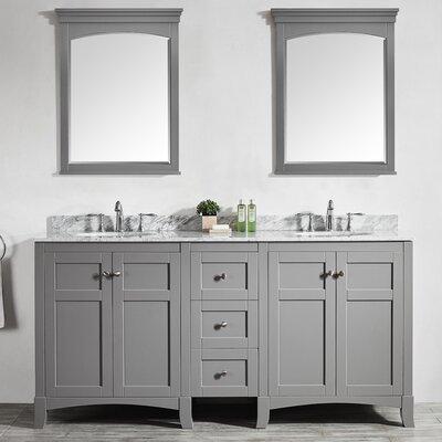 Arezzo 72 Double Vanity Set with Mirrors Base Finish: Gray