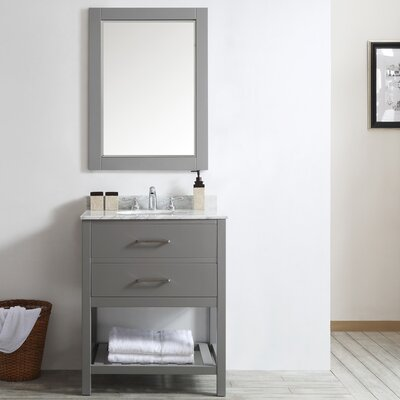 Trond 30 Single Vanity Set with Mirror Base Finish: Gray
