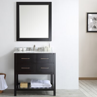 Foligno 36 Single Vanity Set with Mirror Base Finish: Espresso