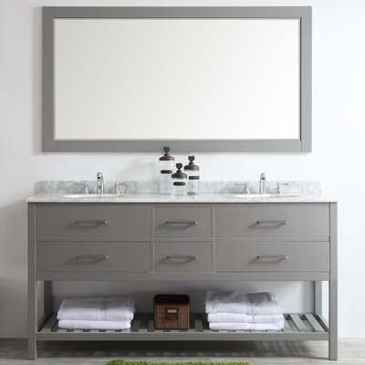 Foligno 72 Double Vanity Set with Mirror Base Finish: Gray