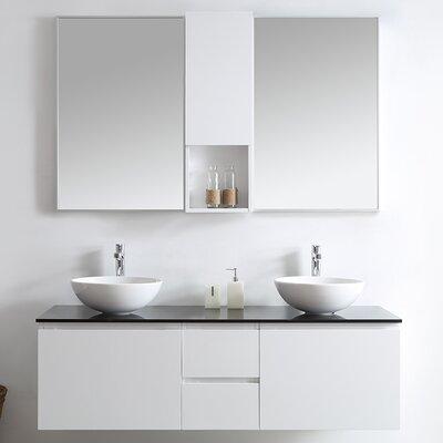 Ferrara 60 Double Vanity Set with Mirrors Base Finish: White