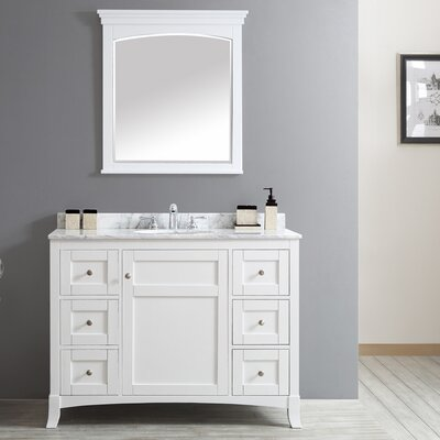 Arezzo 48 Single Vanity Set with Mirror Base Finish: White