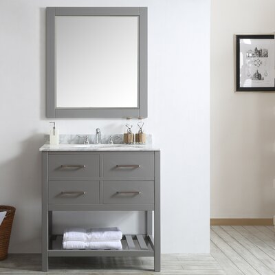 Foligno 36 Single Vanity Set with Mirror Base Finish: Gray