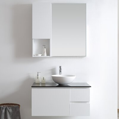 Ferrara 36 Single Vanity Set with Mirror Base Finish: White