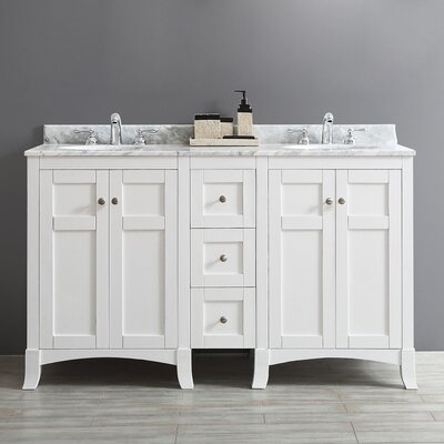 Arezzo 60 Double Vanity Set Base Finish: White