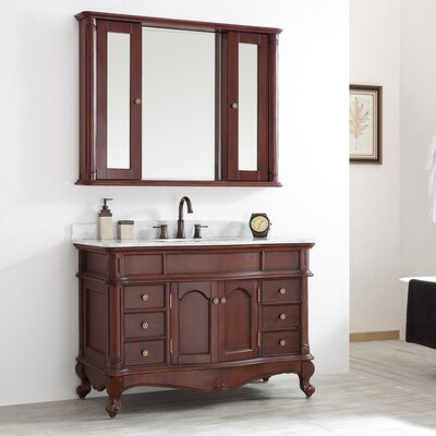 Leflore 48 Single Vanity Set with Mirror Base Finish: Antique Cherry