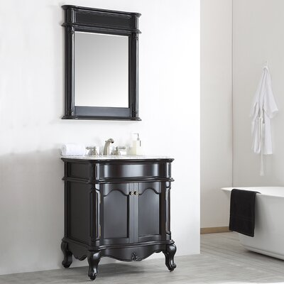 Leflore 30 Single Vanity Set with Mirror Base Finish: Espresso