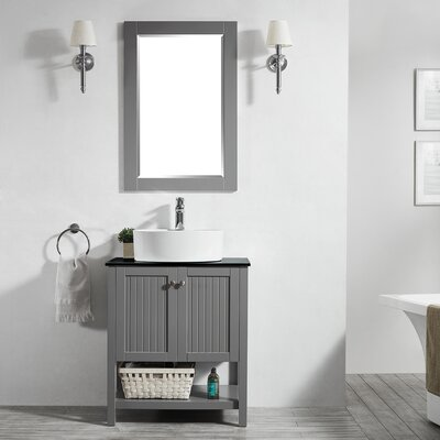 Modena 28 Single Bathroom Vanity Set with Mirror Base Finish: Gray
