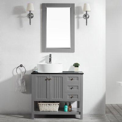 Modena 36 Single Bathroom Vanity Set with Mirror Base Finish: Gray