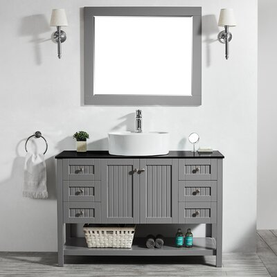 Modena 48 Single Bathroom Vanity Set with Mirror Base Finish: Gray