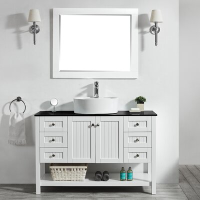 Modena 48 Single Bathroom Vanity Set with Mirror Base Finish: White