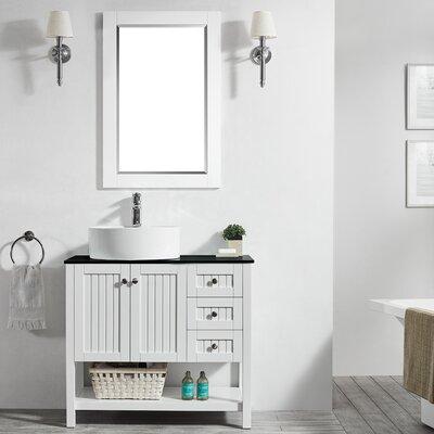 Modena 36 Single Bathroom Vanity Set with Mirror Base Finish: White