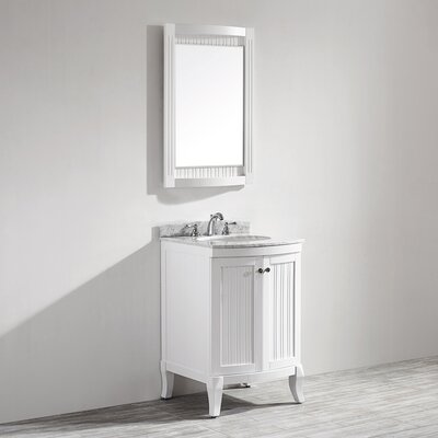 Verona 24 Single Vanity Set with Mirror Base Finish: White