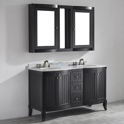 Verona 60 Double Vanity Set with Mirror Base Finish: Espresso