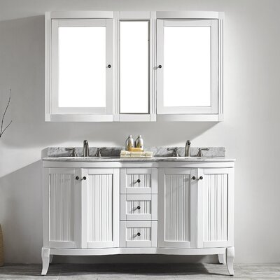 Verona 60 Double Vanity Set with Mirror Base Finish: White