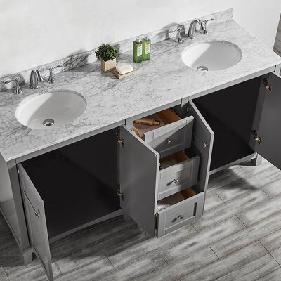 Arezzo 72 Double Vanity Set Base Finish: Gray
