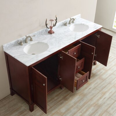 Arezzo 72 Double Vanity Set Base Finish: Antique Cherry