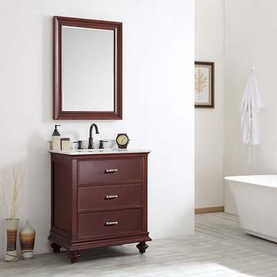 Venice 30 Single Vanity Set with Mirror Base Finish: Antique Cherry