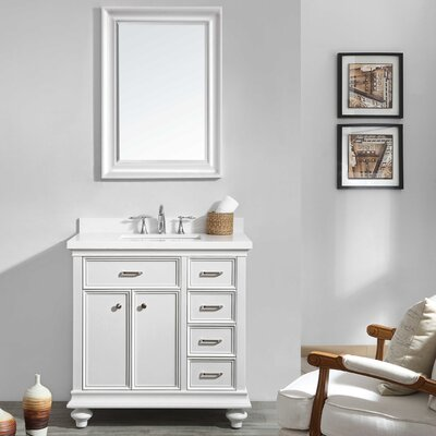 Weisner 36 Bathroom Vanity Set with Mirror Base Finish: White