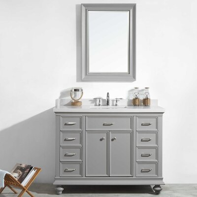 Weisner 48 Bathroom Vanity Set with Mirror Base Finish: Gray