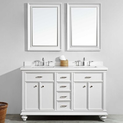 Weisner 60 Bathroom Vanity Set with Mirror Base Finish: White