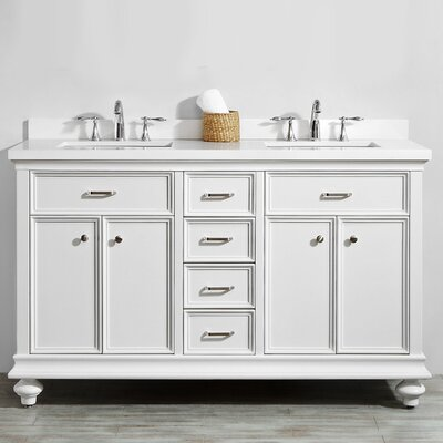 Weisner 60 Bathroom Vanity Set Base Finish: White