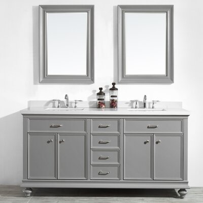 Weisner 72 Bathroom Vanity Set with Mirror Base Finish: Gray