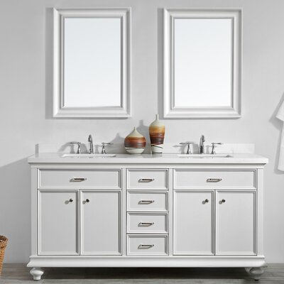 Weisner 72 Bathroom Vanity Set with Mirror Base Finish: White