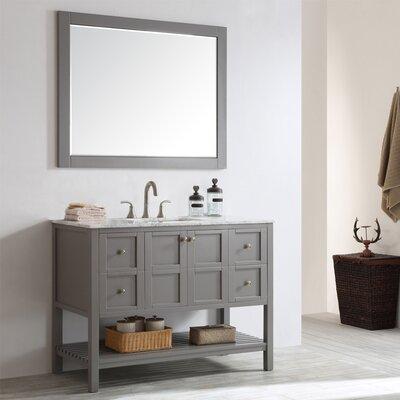 Caldwell 48 Single Bathroom Vanity Set with Mirror Base Finish: Grey