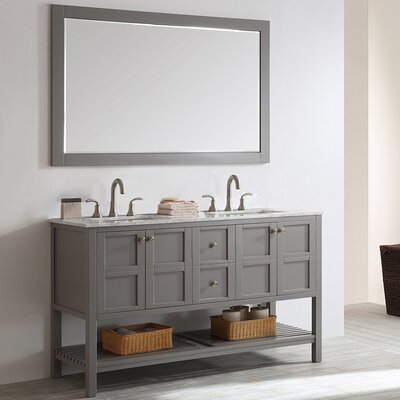 Caldwell 60 Double Bathroom Vanity Set with Mirror Base Finish: Grey