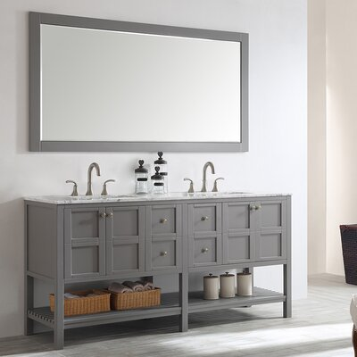 Caldwell 72 Double Bathroom Vanity Set with Mirror Base Finish: Grey