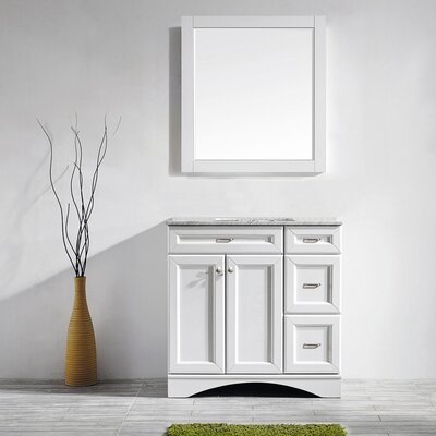 Madi 36 Single Vanity Set with Mirror Base Finish: White