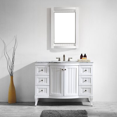 Verona 48 Single Vanity Set with Mirror Base Finish: White