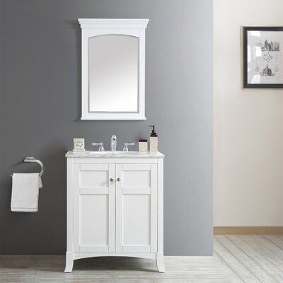 Arezzo 30 Single Vanity Set with Mirror Base Finish: White