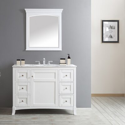 Arezzo 48 Single Vanity Set with Mirror Base Finish: White