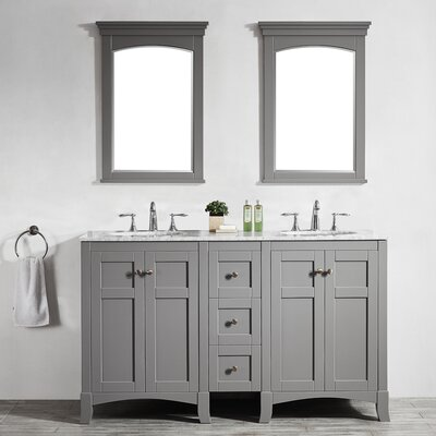 Arezzo 60 Double Vanity Set with Mirrors Base Finish: Gray