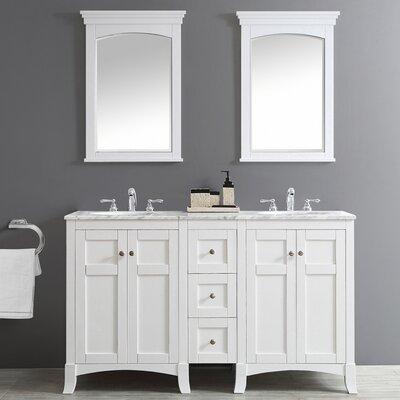 Arezzo 60 Double Vanity Set with Mirrors Base Finish: White