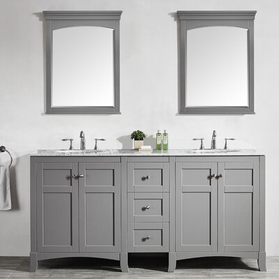 Arezzo 72 Double Vanity Set with Mirrors Base Finish: Gray