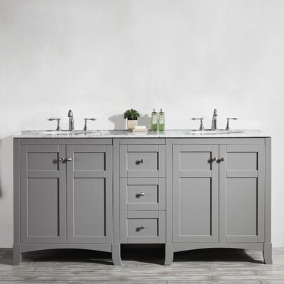 Arezzo 72 Double Bathroom Vanity Base Finish: Gray