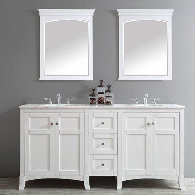 Arezzo 72 Double Vanity Set with Mirrors Base Finish: White