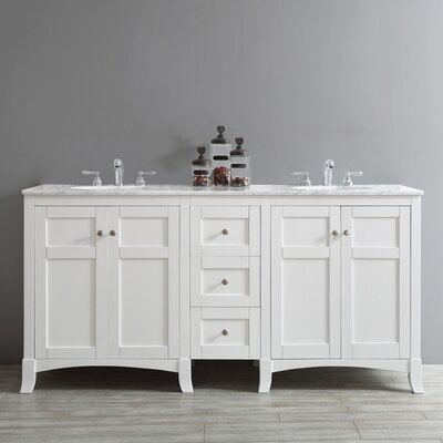 Arezzo 72 Double Bathroom Vanity Base Finish: White