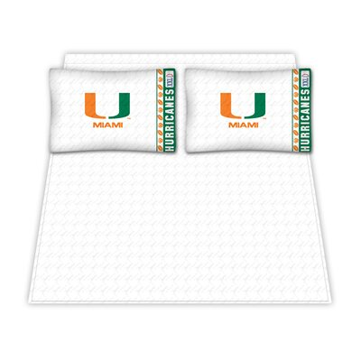NCAA Miami University Hurricanes Sheet Set Size: Queen