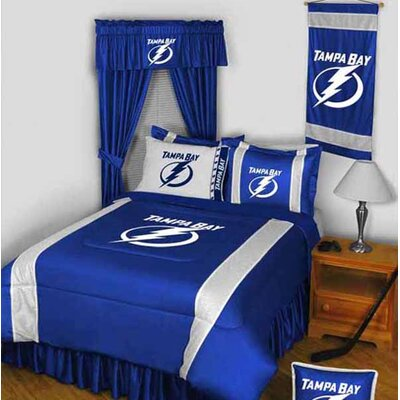 NHL Bed Skirt Size: Full, NHL Team: Tampa Bay Lightning